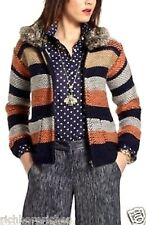 NEW Anthropologie Sparrow Sweatercoat Marled Latitude navy rust faux fur S $168