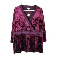 AVENUE Top 18W 20W Soft Stretch Velvet Empire 3/4 Slv Tunic NEW Plus Sz Holidays