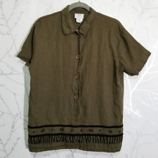 Hot Cotton Marc Ware Olive Green Blouse w/ Velvet Detail | Size S | 100% Linen