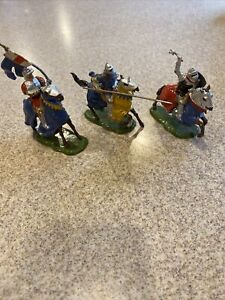 Old BRITAINS 1950s Lead Mounted Knights of Agincourt *Lot Of 3 Knights READ