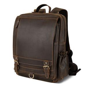 """Men Leather Backpack Travel Satchel 16"""" Laptop Bag Daypack College School Bag"""