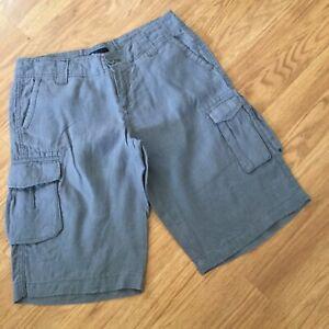 GAP Womens Size 4 Gray 100% Linen Cargo Shorts EUC Casual Comfort