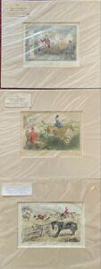 Lot of 3 Antique British Steel Line Engraving John Leech Equestrian Horse Prints