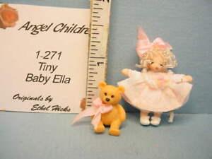"Miniature Ethel Hicks Doll ""Tiny Baby Ella & Teddy Bear"" #1-328 Handcrafted"