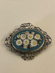 Large Good Quality Vintage Micro Mosaic Brooch Flower Design Italy.