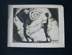 "Bertil Lybeck Swedish Artist 1915 Etching ""Quartier Latin"" Possibly WWI Refugees"