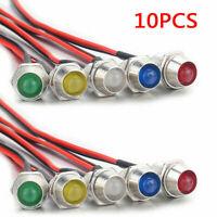 10Pcs 12V 10 LED Indicator Light Lamp Bulb Pilot Dash Panel Car Truck Boat 8mm