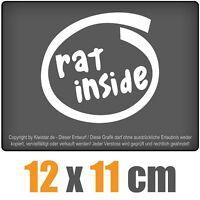 rat inside 12 x 11 cm JDM Decal Sticker Auto Car Weiß Scheibenaufkleber