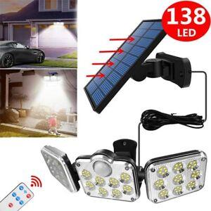138LED Solarleuchte mit Bewegungsmelder Außen Fluter Sensor Strahler Lampe Licht