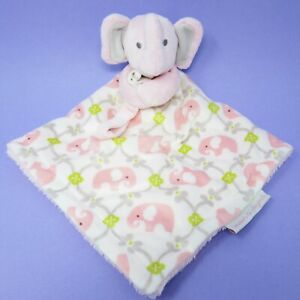 Blankets & Beyond elephant pink white green comforter blankie soother nunu lovey