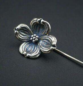 """Retired James Avery Sterling Silver Dogwood Flower Lapel Stick Pin 2.5"""" OS537"""
