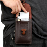 Fashion Men's Leather Waist Bag Zipper Small Card Holder Packs Belt Phone Wallet