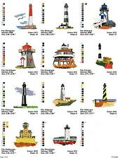 Lighthouses 2, 16 embroidery machine designs on CD, Multi Formats available