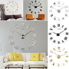 DIY 3D Wall Clock Roman Numeral Metallic Mirror Stick On Clock Home Decor