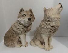 1995 Qty. 2 ~ Sandra Brue ~ Sandicast ~ Wolf Wolves Figurine ~ Usa ~ M501 & M502