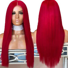 """US 24"""" Long Straight Lace Front Wig Red Heat Safe Fiber Hair Full Head"""