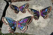 """Set/3 Las Mariposas Butterflies Metal Handmade Painted Mexican 12"""" 15"""" 18"""" 421"""