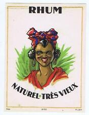 RHUM, Naturel Tres Vieux, black woman head scarf, antique rum label #124