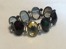 "Beautiful Stretch Bracelet Silver Tone Clear Rhinestone Deep Cabochon 1 1/8"" W"