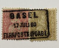 1880 BASEL FAHRPOSTAUFGABE DRIVING POSTS SON CANCEL ON SWITZERLAND STAMPS