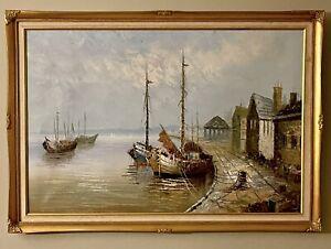 Stunning Vintage Original Oil OnCanvas Old Fishing Village Boats Framed & Signed