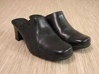Clarks Black Leather Mules Women's Size 9 M Slip On Comfort Heels