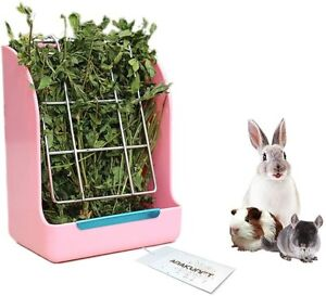Rabbit Hay Feeder Less Wasted with Hay Rack Manger for Guinea Pig Chinchilla UK