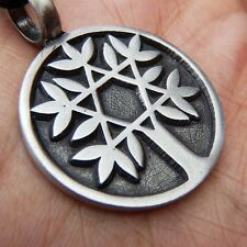 David's Star Tree Of Life Kabbalah Norse Pewter Pendant and Cotton Necklace #156