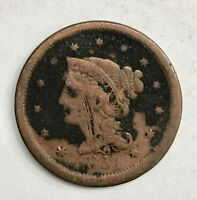 1851 Braided Hair Large Cent 1¢ Circulated