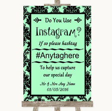 Wedding Sign Mint Green Damask Instagram Social Media Photo Sharing
