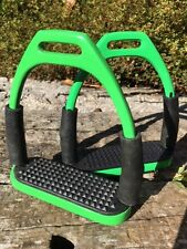 Stirrups Lime Green Flexi Stirrups Stainless Steel Green Safety Stirrups