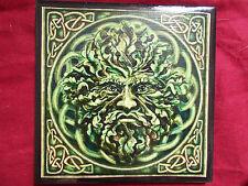 Green Man God Pagan Handmade Ceramic Tiles coaster altar tile plaque