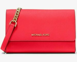 Michael Kors Saffiano Leather 3-in-1 Crossbody Coral Red 35S9GTVC3L NWT $328 FS