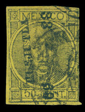 MEXICO 1868  Hidalgo  50c black, yellow  - HUEJUTLA - 33  69 consg.  Sc# 49 used