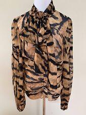 NWT Dolce & Gabbana Tiger Print Bow Runway Silk Chiffon Top Blouse Sz 48 $1395