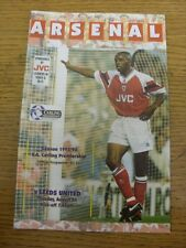24/08/1993 Arsenal v Leeds United  . Item appears to be in good condition unless