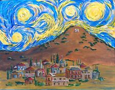 """Starry Starry Bisbee"" print from original acrylic, folk art by Sallee - Arizona"