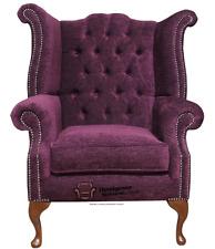 Chesterfield Armchair Queen Anne High Back Wing Chair Velluto Aubergine 219