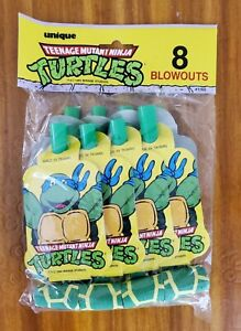 Vintage 1989 Teenage Mutant Ninja Turtles Blowouts (8) Party Favors- NEW!