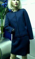 Vintage Rodier Paris Suit Skirt Jacket Wool Navy Size 38-40 Us Size 4