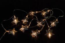 Lichterkette Stern Altsilber 10 LED Lämpchen Sterne