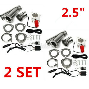 2x 2.5inch Electric Exhaust Valve Downpipe System CutOut Kit With Remote Cutout