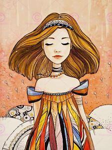 Painting Illustration Cool Cartoon Girl Portrait Canvas Art Print