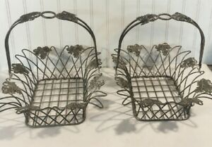 2 Vtg Silver Plated Wire Bread Fruit Basket Handle Grapes Leaves Accent MCM Lot