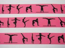 "BB Ribbon GYMNASTICS ON BRIGHT PINK 1m grosgrain 7/8""sport hair bows"
