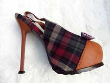 "Tawny Brown Red Black Tartan Bow Platform 6""high heel Stiletto Shoes Size 5 38"