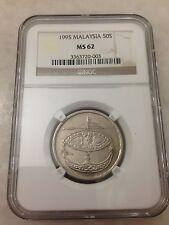 (JC) 50 (fifty) sen 1995 Malaysia Bunga Raya coin keydate NGC Graded MS62 (UNC)