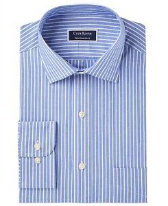 Club Room Performance Mens Dress Shirt Blue Size 18 1/2 Striped Slim Fit $55 038