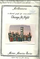CHICAGO AT NIGHT BEAUTIFUL SKYLINE ART VENTURES CHARTED GRAPH FOR CROSS STITCH