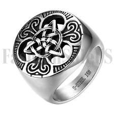 Gótico para Hombre de Acero Inoxidable Biker Nudo Celta Irlandés Anillo de bodas tamaño 7-14